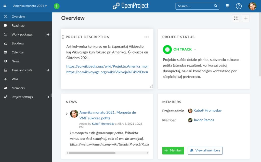 Superrigardo de projekto en OpenProject